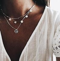 newchic Bohemian Multi-layer Round Tassel Necklace 3D Wavy Pendant Metal Chain Charm Necklace