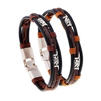 newchic Punk Leather Bracelets Woven Wax Rope Retro Winding Multilayer Gift Bracelet for Men
