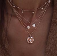 newchic Bohemian Multilayer Gold Necklaces Round Slice Beads Stars Chain Crescent Pendant Necklace for Women