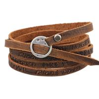 newchic Punk PU Leather Ancient Wristband Simple Word Love Multilayer Bracelet for Men Gift