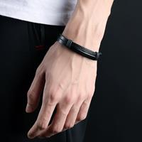 newchic Casual Three-color Stainless Steel Pendant Bracelet Double Leather Men's Bracelet Vintage Jewelry