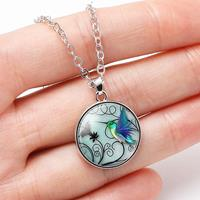 newchic Fashion Creative Blue Hummingbird Pendant Necklace Round Glass Women Necklace Jewelry Gifts