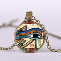 newchic Eye Of Horus Gem Pendant Necklace Adjustable Metal Chain Round Glass Women Necklace Jewelry Gifts