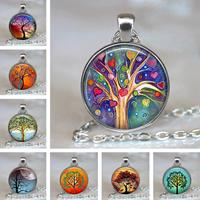 newchic Vintage Geometric Round Tree Of Life Gemstone Pendant Necklace Metal Colorful Glass Printed Women Jewelry