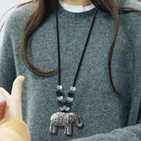 newchic Vintage Flower Leaf Leather Necklace Metal Carved Long Tassel Beaded Necklace Sweater Chain