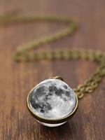 newchic Double-Sided Glass Ball Women Necklace Gray Moon Pendant Necklace Jewelry
