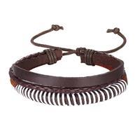 lgtjwls Leren armband Heren Verstelbaar Touw Bruin Wit