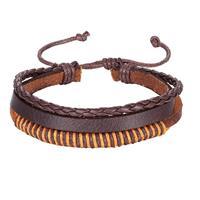 lgtjwls Leren armband Heren Verstelbaar Touw Bruin