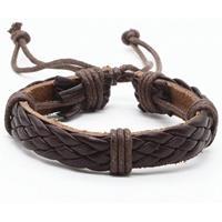 lgtjwls Leren armband LGT Jewels Gevlochten Verstelbaar Touw Bruin