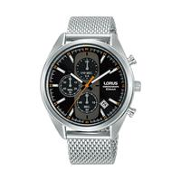 Lorus RM351GX9 Mens Black Dial Mesh Stainless Steel Chronograph Bracelet Watch