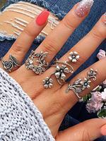BERRYLOOK Leaf Flower 4 Piece Set Ring