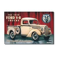 Fiftiesstore Metal Poster The 1939 Ford V-8 Trucks - The Power of Economy