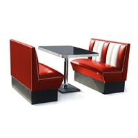 Fiftiesstore 2 x Classic Dinerbooth Rood + Tafel