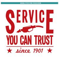 Fiftiesstore Sticker Service You Can Trust : Rood (Groot)