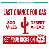 Fiftiesstore Sticker Last Chance For Gas: Rood