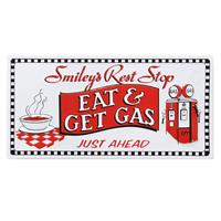 Fiftiesstore Smiley's Rest Shop - Eat and Get Gas Embossed Metalen Bord