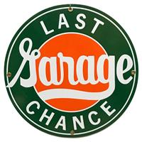 """Fiftiesstore Last Chance Garage Emaille Bord 12"""" / 30 cm"""