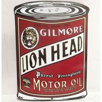 Fiftiesstore Gilmore Lion Head Motor Oil - Oil Can Shaped Emaille Bord