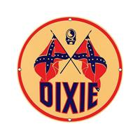 Fiftiesstore Dixie Gasoline Man Logo Emaille Bord