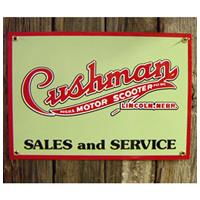 Fiftiesstore Cushman Motor Scooter Sales Service Emaille Logobord