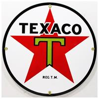 """Fiftiesstore Texaco Ster Logo Emaille Bord 12"""" / 30 cm"""