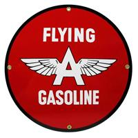 """Fiftiesstore Flying A Gasoline Logo Emaille Bord 12"""" / 30 cm"""