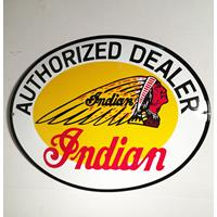 Fiftiesstore Indian Motorcycle Authorized Dealer Emaille Bord