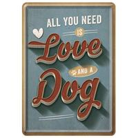 Fiftiesstore All You Need Is Love And A Dog Metal Postcard