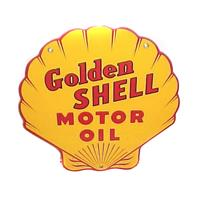"""Fiftiesstore Golden Shell Motor Oil Emaille Bord 12""""/ 30 cm"""