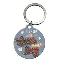 Fiftiesstore All You Need Is Love And A Dog Sleutelhanger