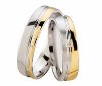 Christian Bicolor trouwringen met diamant geel goud