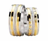 Christian Trouwringen diamond coated bicolor geel goud