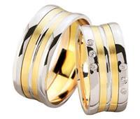Christian Gestreepte bicolor diamanten geel goud