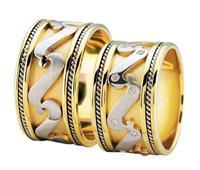 Christian Bicolor diamanten trouwringen fantasie model geel goud