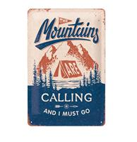 fiftiesstore Tinnen Bord 20 x 30 The Mountains Are Calling