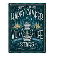 fiftiesstore Tinen Bord 30 x 40 Happy Camper