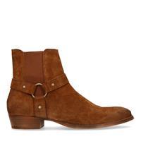 Sacha Cognac chelsea boots met buckle - bruin