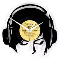 fiftiesstore Vinyl Klok Koptelefoon - Gemaakt Van Een Gerecyclede Plaat