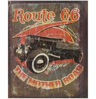 fiftiesstore Route 66 The Mother Road Oldtimer Metalen Poster