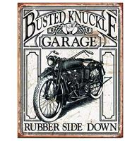 fiftiesstore Metalen Poster- Busted Knuckle Garage Motorcycle Rubber Side Down