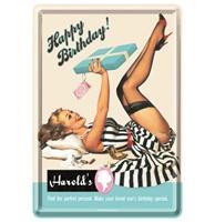 Fiftiesstore Metalen Postkaart Happy Birthday Harrolds