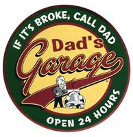 Fiftiesstore Dad's Garage Open 24 Hours Metalen Bord 60 cm