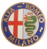 Fiftiesstore Alfa Romeo Milano Logo Emaille Bord - 13 cm ø
