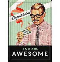 Fiftiesstore Metalen Postkaart Congratulations You Are Awesome