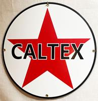 Fiftiesstore Caltex Logo Rond Emaille Bord 30 cm