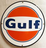Fiftiesstore Gulf 1963 Rond Emaille Bord 30 cm