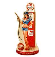 Fiftiesstore Gas Pump Girl Fill'er up Zwaar Metalen Bord 66 x 26,5 cm