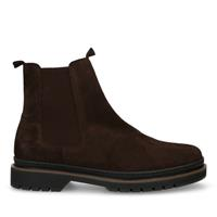 Manfield Donkerbruine suède chelsea boots