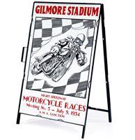 Fiftiesstore Gilmore Stadium Motorcycle Races Metalen Frame Met Bord