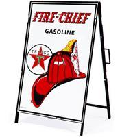 Fiftiesstore Texaco Fire Chief Gasoline Metalen Frame Met Bord
